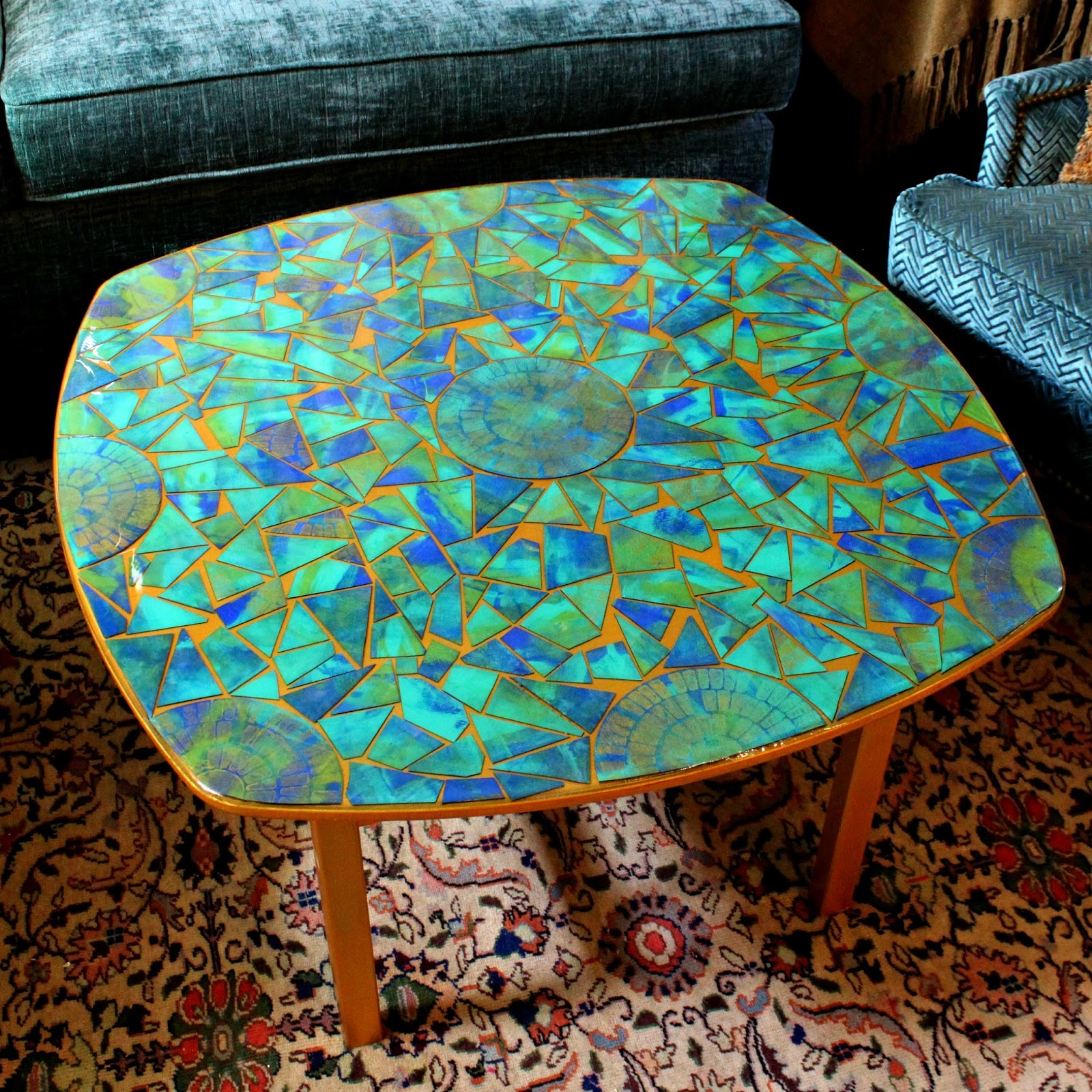 Mark Montano Cardboard Mosaic Table With Gel Press
