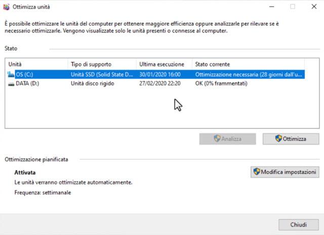 ottimizzazione e frammentazione unità pc windows