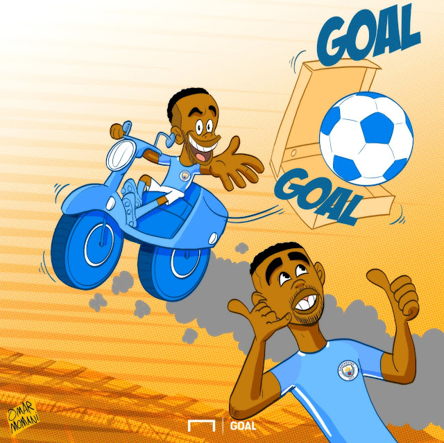 Raheem Sterling and Gabriel Jesus cartoon