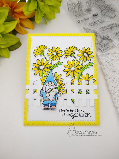 Life's better in the garden by Diane features Gnome Garden, Dainty Daisies, Fence, and Frames & Flags by Newton's Nook Designs; #newtonsnook, #inkypaws, #cardmaking