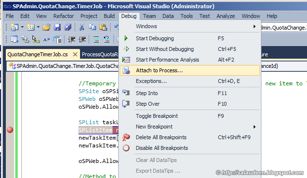 sharepoint 2010 timer job debug