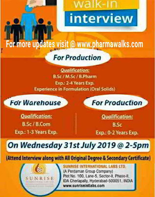 SUNRISE INTERNATIONAL - Walk-in interview for Production & Warehouse departments on 31st July, 2019