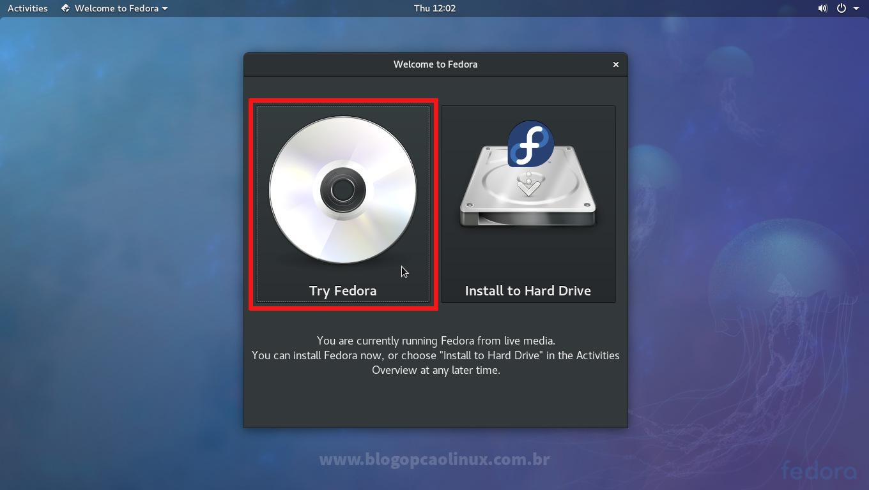 """Selecione a opção """"Try Fedora"""" (Testar o Fedora)"""