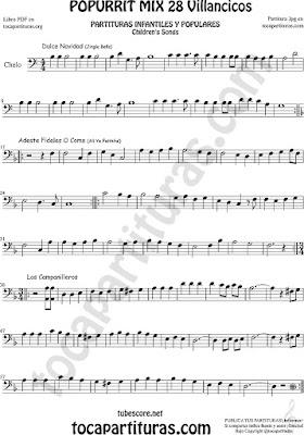 Violonchelo Partitura de Chelo Popurrí Mix 28 Sheet Music for Cello Dulce Navidad, Adeste Fideles y Los Campanilleos Villancicos