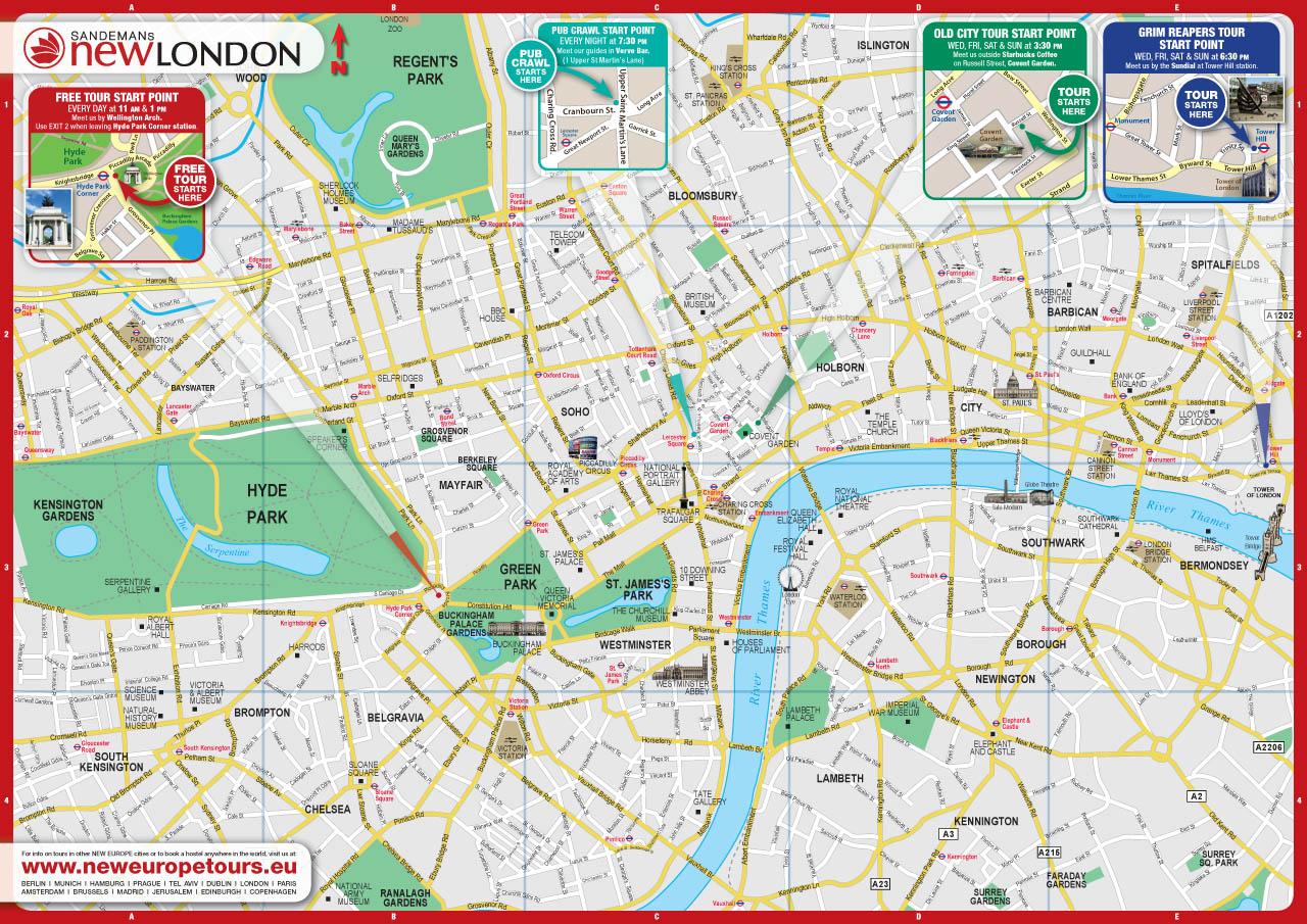 london city map free england