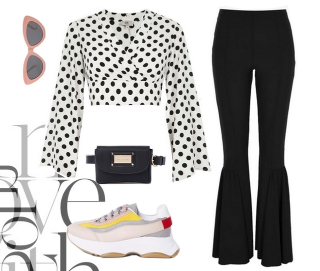 Make people stare outfit inspiratie crop top met polkadot print stippen shirt flare legging chunky sneakers met dikke plateauzool belt bag heuptasje en roze cat eye zonnebril