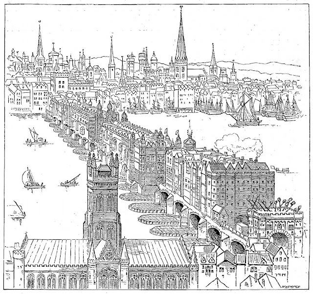 an illustration of old London Bridge, with traitors' heads on poles