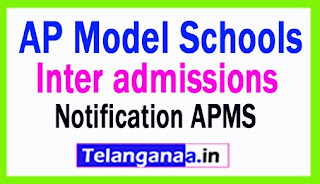 AP Model Schools Inter admission Notification 2018 | APMS Inter 1st Year Admissions Notification 2018
