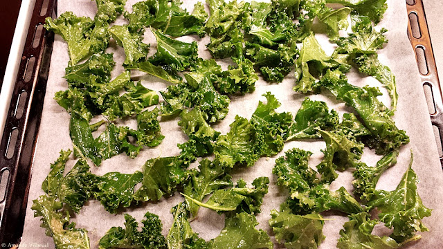Kale on the oven tray - kale chips recipe