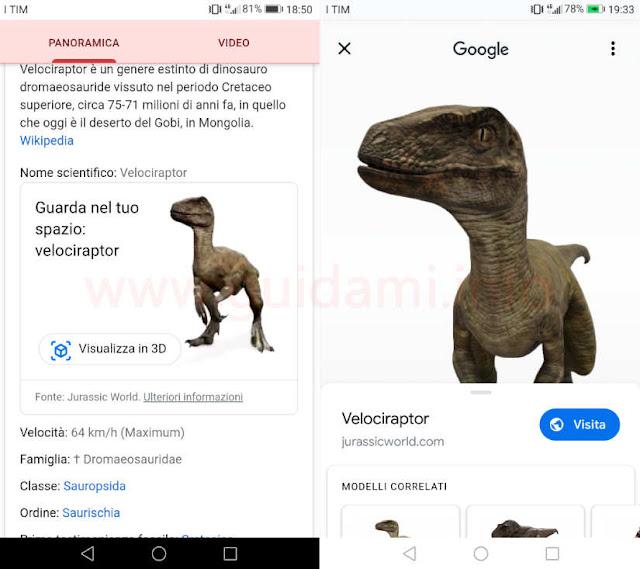Dinosauri in realtà aumentata su Google