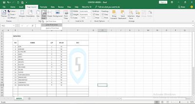 cara menghapus Print Area di Excel 2016