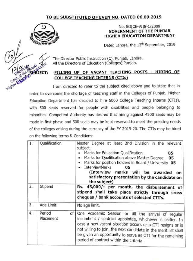 FILLING UP OF VACANT TEACHING POSTS IN COLLEGES BY HIRING OF CTIs