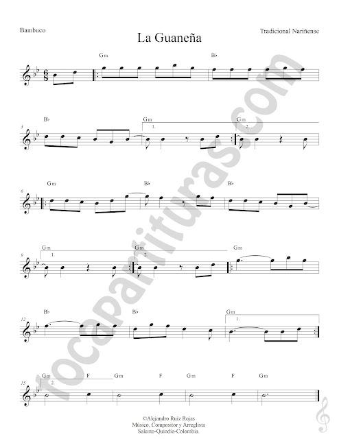 La Guaneña Bambuco Tradicional Partitura Fácil con Acordes La Guaneña Easy Sheet Music with Chords