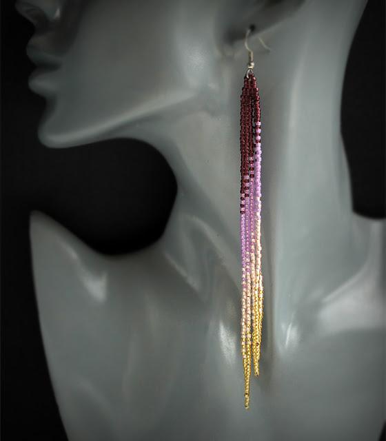 бисерные украшения для вечеринки купить очень длинные серьги до плеч