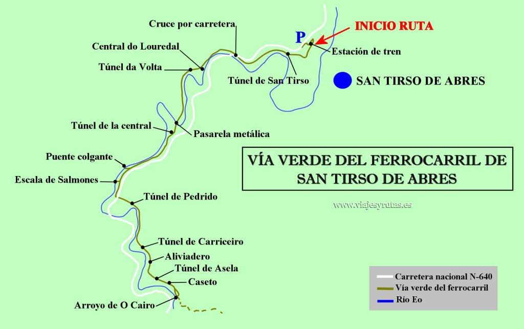 Plano de la Vía verde del ferrocarril del Eo, San Tirso de Abres