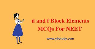 MCQs on d- block element for class 12th NEET | pdf