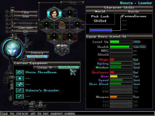 Anachronox equipment screen