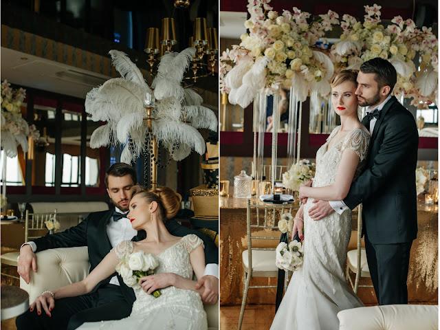 Ślub w stylu lat 20 i pióra w bukietach.