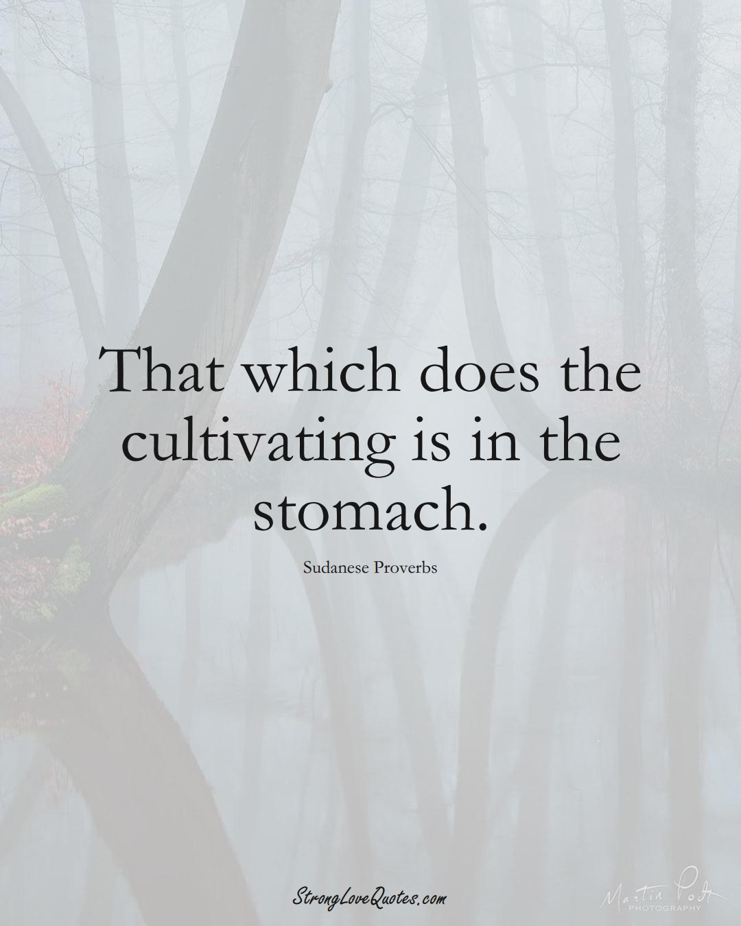 That which does the cultivating is in the stomach. (Sudanese Sayings);  #AfricanSayings