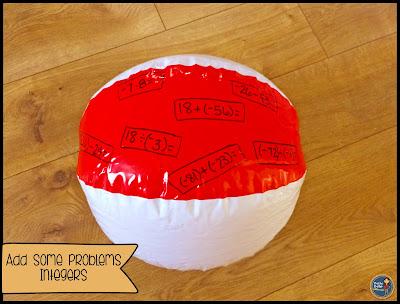 beach ball math, math review, math game, How to Make an Easy Math Game Using Beach Balls
