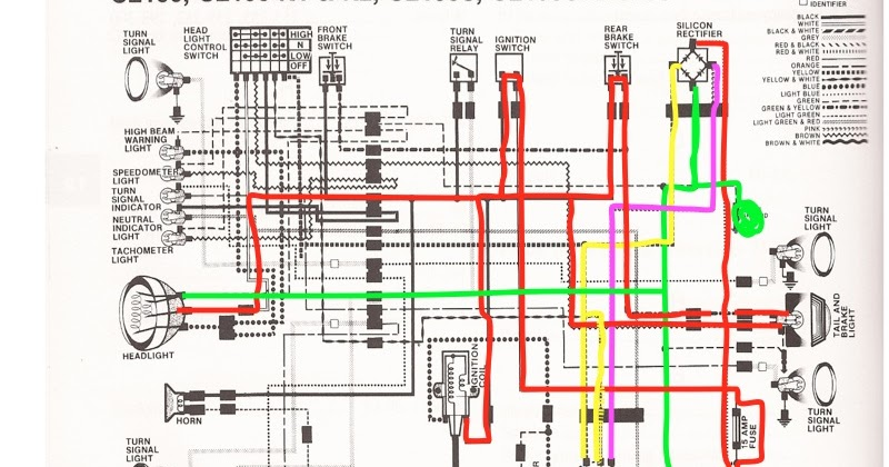R4L: Honda CB100 Wiring Chop (color coded!)