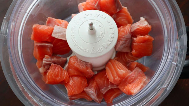 cut up salmon in the kitchen aid food processor