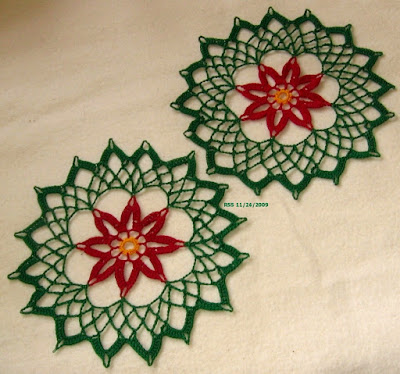 Red and Green Poinsettia Trinket DoilySet - Hand-Crocheted by RSS Designs In Fiber - Sold