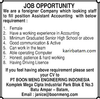 Lowongan Kerja PT. Boonmeng Engineering Indonesia