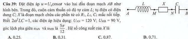 Giải chi tiết câu dòng điện xoay chiều (câu 39) đề tham khảo môn vật lý năm 2021