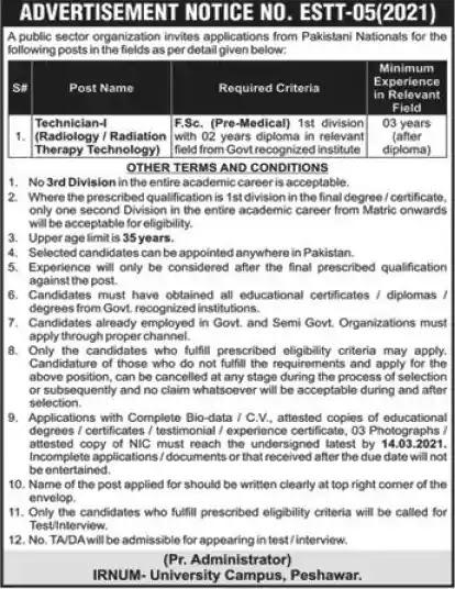 Latest Jobs in Pakistan IRNUM Hospital Peshawar Jobs 2021