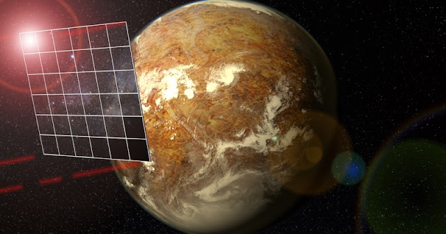 The aim of the Starshot project is to send a tiny spacecraft propelled by an enormous rectangular photon sail to the Alpha Centauri star system, where it would fly past the Earth-like planet Proxima Centauri b. The four red beams emitted from the corners of the sail depict laser pulses for communication with the Earth. Image Credit: Planetary Habitability Laboratory, Univesity of Puerto Rico at Arecibo