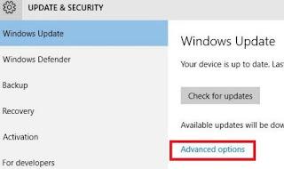 cara mematikan windows update - advanced options