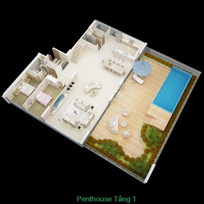 Thiết kế tầng 1 căn hộ Penthouse Mỹ Đình Pearl