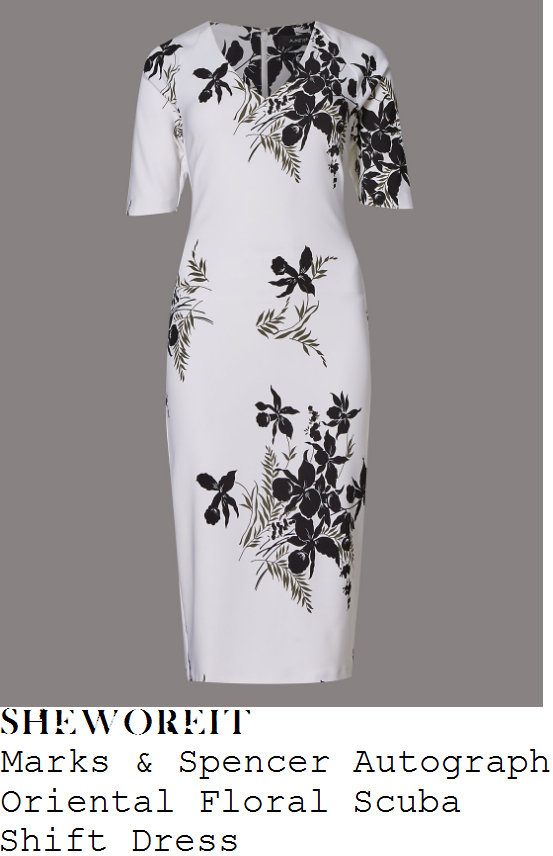 holly-willoughby-marks-and-spencer-white-and-black-monochrome-oriental-floral-print-half-sleeve-v-neck-scuba-bodycon-shift-dress