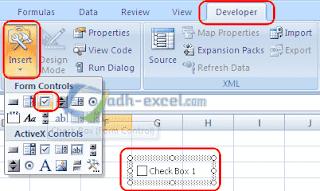 memasang check box dalam sheet excel