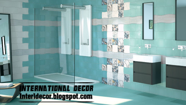 turquoise color and design of wall tile for bathroom - Bathroom Wall Tiles Design