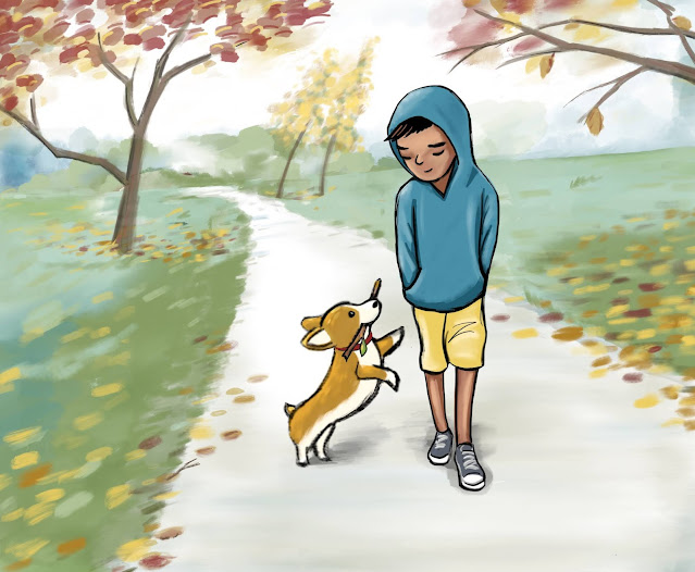 Illustration of a boy in a blue hoodie and yellow shorts walking down a park path on an autumn day, looking at an eager corgi giving him a stick
