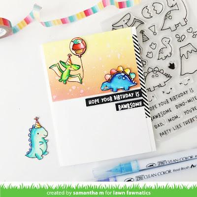 Rawrsome Birthday Card by Samantha Mann for Lawn Fawnatics Challenge, Fun with Food, Lawn Fawn, Dinosaur, Cupcakes, Cards, Handmade Cards, Card Making, Distress Inks, Ink Blending, #cards #cardmaking #lawnfawn #lawnfawnatics