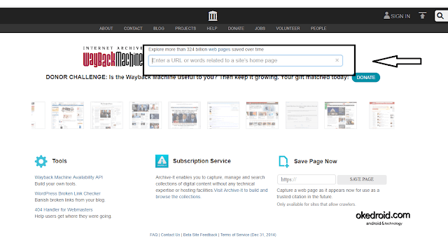Internet Archive Wayback Machine Home Page