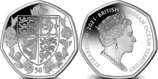 British Indian Ocean Territory 50 pence 2021 - 95th Birthday of Queen Elizabeth II