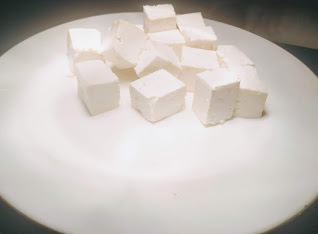 Cube shaped paneer pieces for schezwan chilli paneer recipe