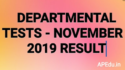 DEPARTMENTAL TESTS - NOVEMBER - 2019 RESULT
