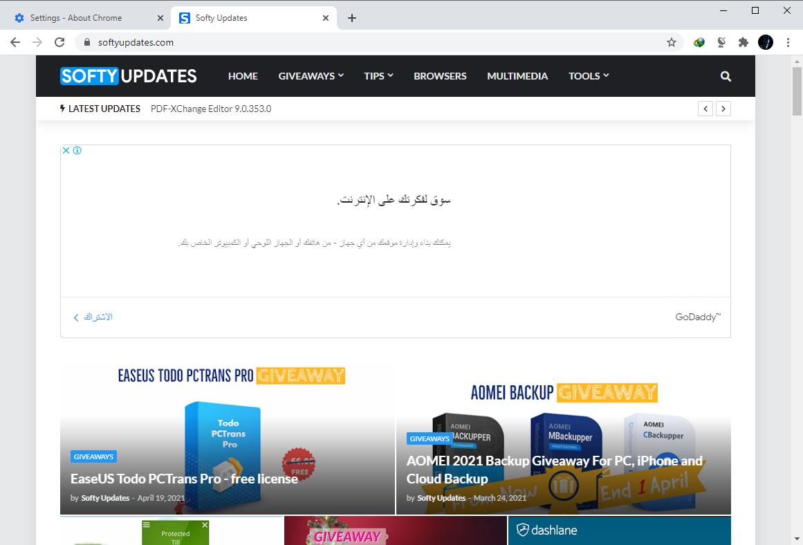 Google Chrome Browser 90.0.4430.85