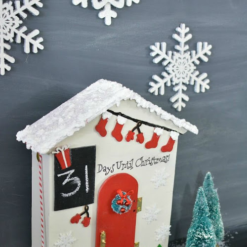 Christmas Countdown Santa Cottage - Recycled Jam Gift Box