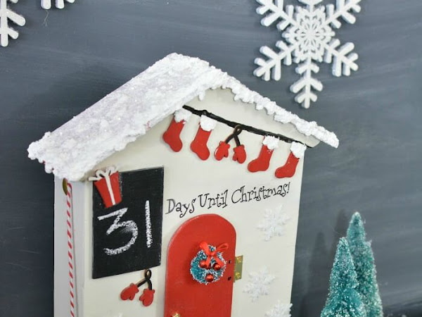 Christmas Countdown Santa Cottage - Recycled Jam Gift Box