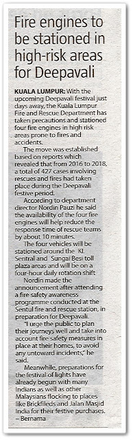 Fire engines to be stationed in high-risk areas for Deepavali - Keratan akhbar The Sun 21 Oktober 2019