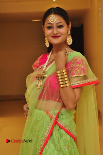 Model Nilofer Haidry Stills in Green Saree at Trendz Exhibition and Sale 2016  0023.JPG
