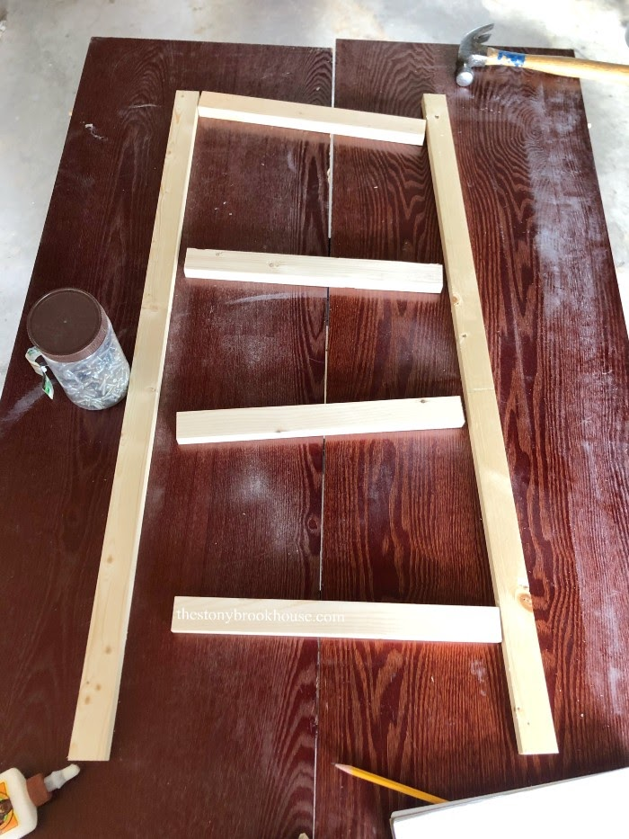 Creating a ladder for each side of the shelf unit