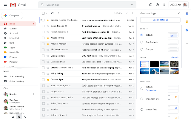Google introduces quick settings menu for Gmail customization. It will help to easily make the customization to get a personalized look and feel.