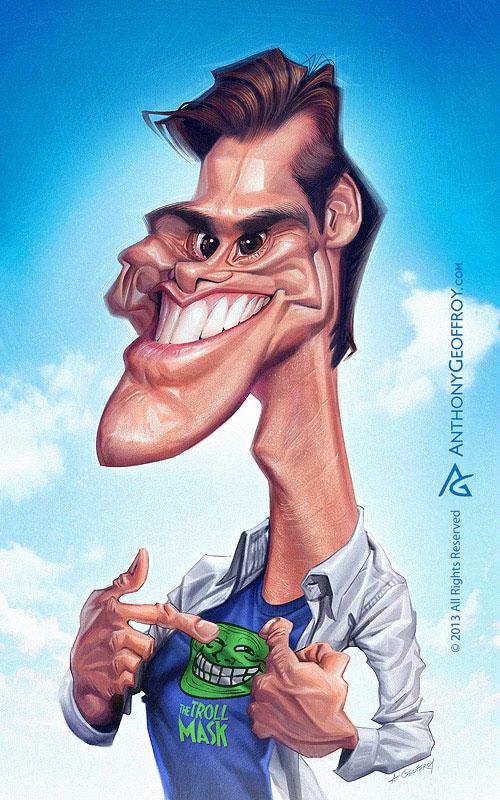 "Caricatura de ""Jim Carrey"" por Anthony Geoffroy"
